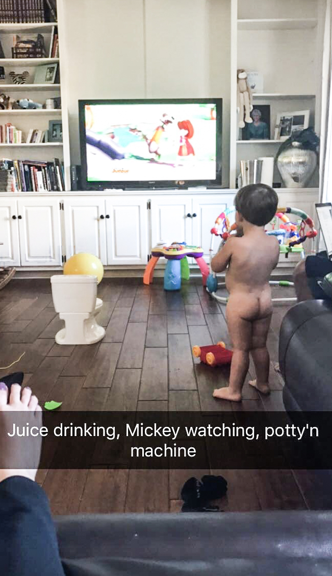 Potty training and watching TV