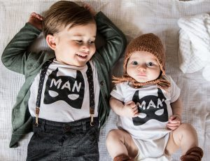 Brothers in matching Minted Method Batman outfits by Little Babe Designs