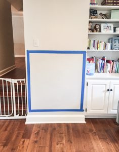 Painters tape setup for magnetic chalkboard