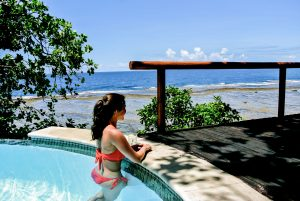 Enjoying the view from the infinity pool at the Duavata villa at the Namale resort in Fiji