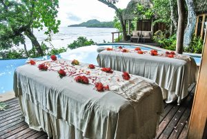 Outdoor massage overlooking the infinity pool at the Duavata villa at the Namale resort in Fiji