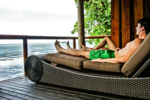 Enjoying the view from the lounge chair at the Duavata villa at the Namale resort in Fiji