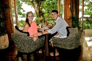 Enjoying a meal at the dining room at the Namale resort in Fiji