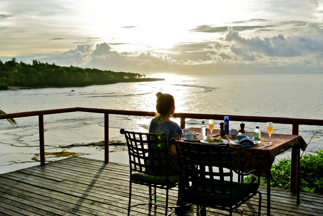 Enjoying a meal at the famous blowhole deck at the Namale resort in Fiji