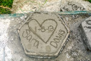 Commemorative concrete tile for honeymooners