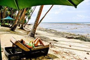 Relaxing on the beach at the Namale resort in Fiji