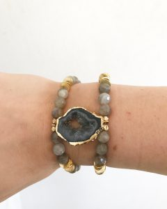 Labradorite and Black Geode Connector Bracelet from six.twentynine designs