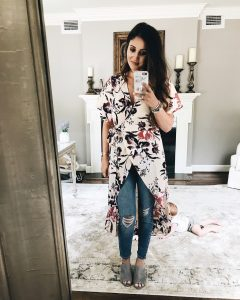 Leith High/Low Wrap Tunic Mirror Selfie