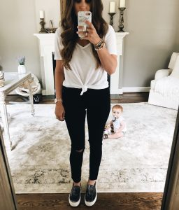 Carlson Rounded V Neck Tee Mirror Selfie