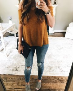 Madison and Berkley Cold Shoulder Ribbed Top Mirror Selfie