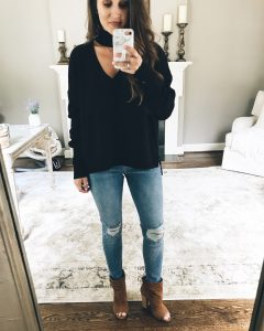 BP Cutout Neck Pullover Mirror Selfie