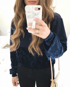 Chloe and Katie Velvet Remix Sweater Mirror Selfie