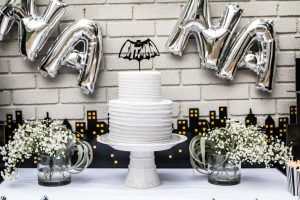 Batman kids' birthday party decor and cake