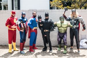 Superhero party costumes; the flash, captain america, superman, batman, the hulk, and thor